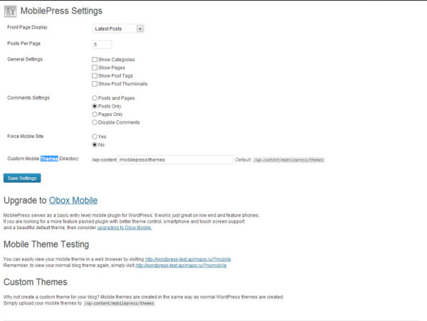 MobilePress - Settings