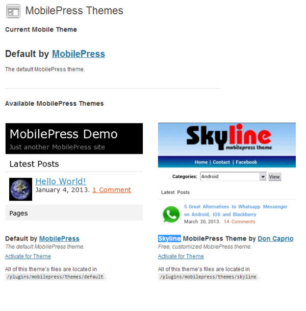 MobilePress - Themes